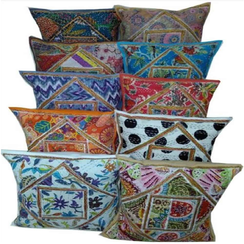 HANDMADE COTTON ANTIQUE PATCH KANTHA CUSHION COVER